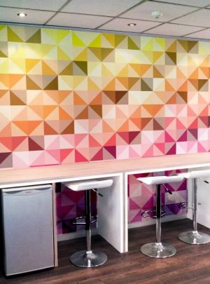 Custom printed wallpaper for office receptions, showrooms, entertainment venues, cafes, meeting rooms and more